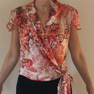 DVF silk cap sleeve blouse-perfect condition